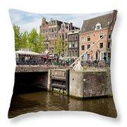 Bridge On Singel Canal In Amsterdam Throw Pillow