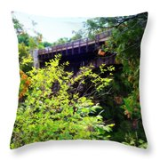 Bridge Over Ausable Chasm Throw Pillow