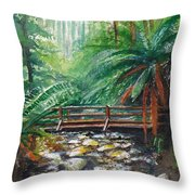Bridge Over Badger Creek Throw Pillow