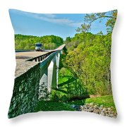 Bridge Over Birdsong Hollow At Mile 438 Of Natchez Trace Parkway-tennessee Throw Pillow
