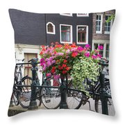 Bridge Over Canal In Amsterdam Throw Pillow
