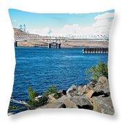 Bridge Over Columbia River At Umatilla-or  Throw Pillow