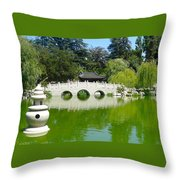 Bridge Over Emerald Water Throw Pillow