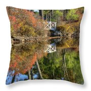 Bridge Over Fall Waters Throw Pillow