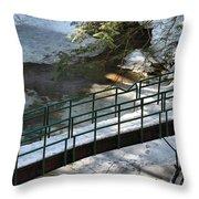 Bridge Over Frozen River Throw Pillow
