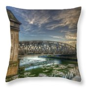 Bridge Over Icey Waters Throw Pillow