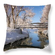 Bridge Over Icy Water Throw Pillow