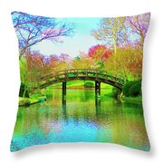 Bridge Over Lake In Spring Throw Pillow