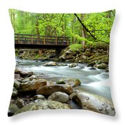 Bridge Over Little Pigeon River Throw Pillow