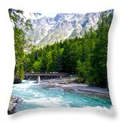 Bridge Over Mcdonald Creek In Glacier Np-mt Throw Pillow