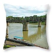 Bridge Over River Kwai In Kanchanaburi-thailand Throw Pillow
