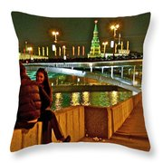 Bridge Over River Near The Kremlin At Night In Moscow-russia Throw Pillow