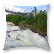 Bridge Over Rushing Water Throw Pillow