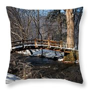 Bridge Over Snowy Valley Creek Throw Pillow