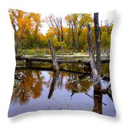 Bridge Over The Pond Throw Pillow
