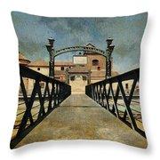 Bridge Over The River Guadalmedina In Malaga. Spain Throw Pillow