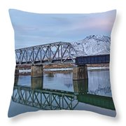 Bridge Over Tranquil Waters In Kamloops British Columbia Throw Pillow by Steve Boyko