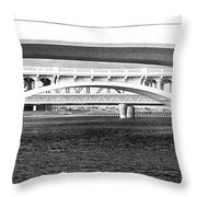 Bridge Panorama Black And White Throw Pillow