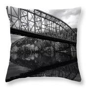 Bridge Reflections In Autumn Throw Pillow