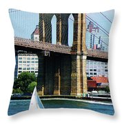 Bridge - Sailboat By The Brooklyn Bridge Throw Pillow