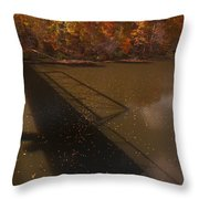 Bridge Shadow In Autumn On The  Duck River Tennessee Fine Art Prints As Gift For The Holidays  Throw Pillow