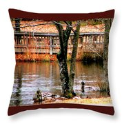 Bridge Spanning Pond Throw Pillow