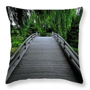 Bridge To Japanese Serenity Throw Pillow