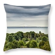 Bridge To Mackinac Throw Pillow