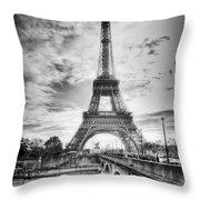 Bridge To The Eiffel Tower Throw Pillow by John Wadleigh