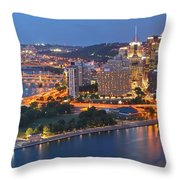 Bridge To The Pittsburgh Skyline Throw Pillow