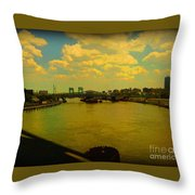 Bridge With Puffy Clouds Throw Pillow