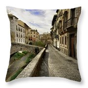Bridges At Darro Street In Historic Albaycin In Granada Throw Pillow