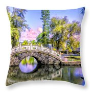 Bridges At Liliuokalani Park Hilo Throw Pillow