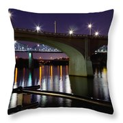 Bridges At Night Throw Pillow