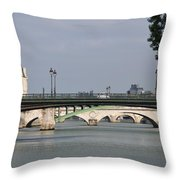 Bridges Over The Seine And Conciergerie - Paris Throw Pillow