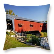 Bridgeton Covered Bridge 3 Throw Pillow