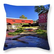 Bridgeton Covered Bridge 4 Throw Pillow