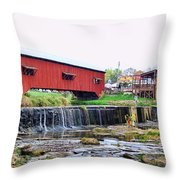Bridgeton Mill And Covered Bridge Throw Pillow