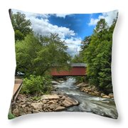 Bridging Slippery Rock Creek Throw Pillow