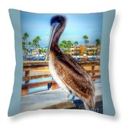 Brief Pelican Encounter  Throw Pillow