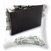 Briefcase Stuffed With Dollar Bills Throw Pillow