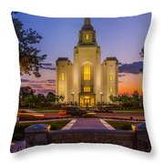Brigham City Temple Moon N Stars Throw Pillow