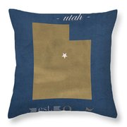 Brigham Young University Cougars Provo Utah College Town State Map Poster Series No 023 Throw Pillow