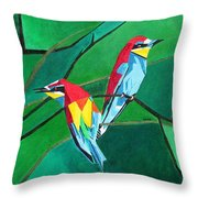 Brighly Colored European Bee-eaters Throw Pillow