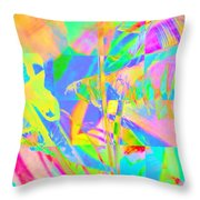 Bright Abstracted Banana Leaf - Square Throw Pillow