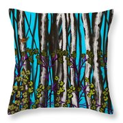Bright Blue And Birch Throw Pillow