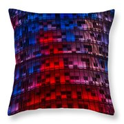 Bright Blue Red And Pink Illumination - Agbar Tower Barcelona Throw Pillow