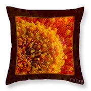 Bright Budding And Golden Abstract Flower Painting Throw Pillow