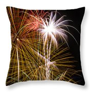 Bright Bursts Of Fireworks Throw Pillow