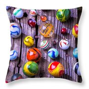 Bright Colorful Marbles Throw Pillow